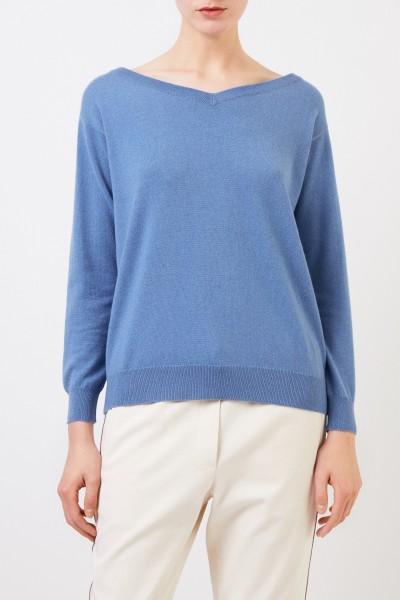 Brunello Cucinelli Cashmere-Pullover mit Perlenverzierung Blau