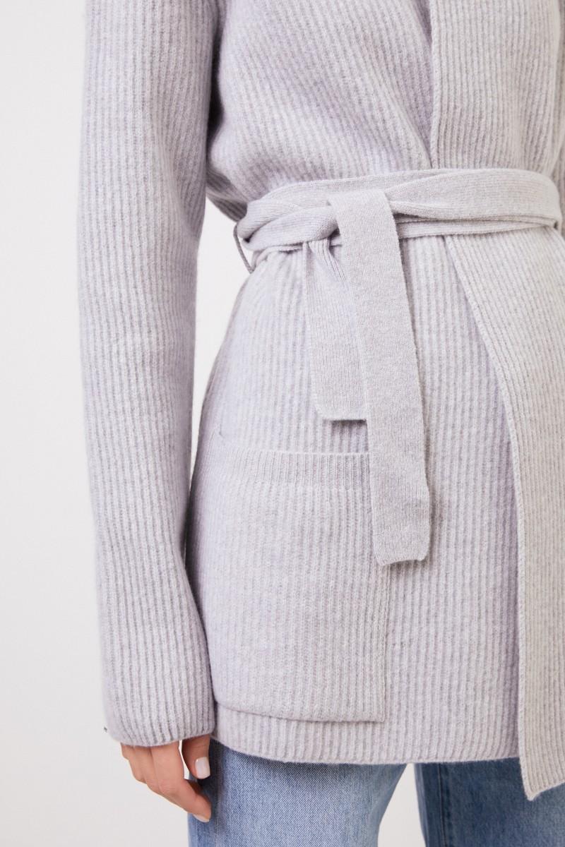 Brock Collection Woll-Cashmere-Cardigan mit Gürtel Grau