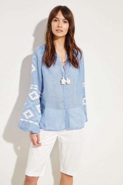 Leinen-Bluse 'Istanbul' mit Stickerei Blau/Weiß