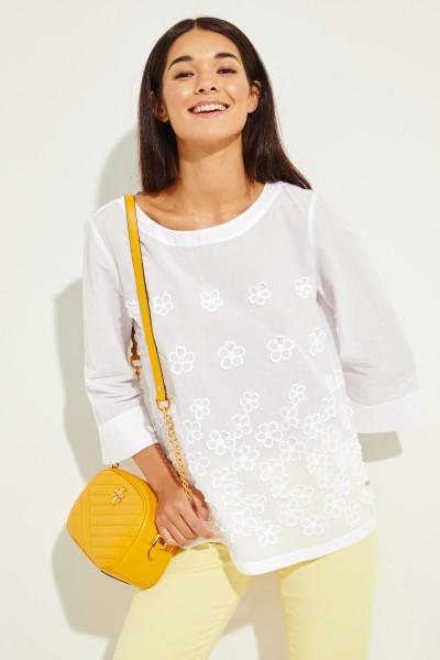 Baumwoll-Bluse mit floraler Stickerei Weiß
