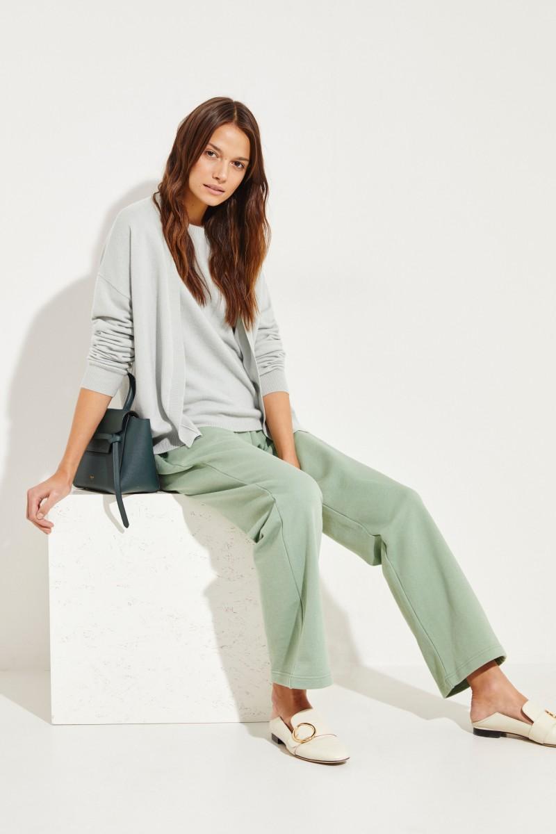 Kurzarm Cashmere-Pullover Salbei