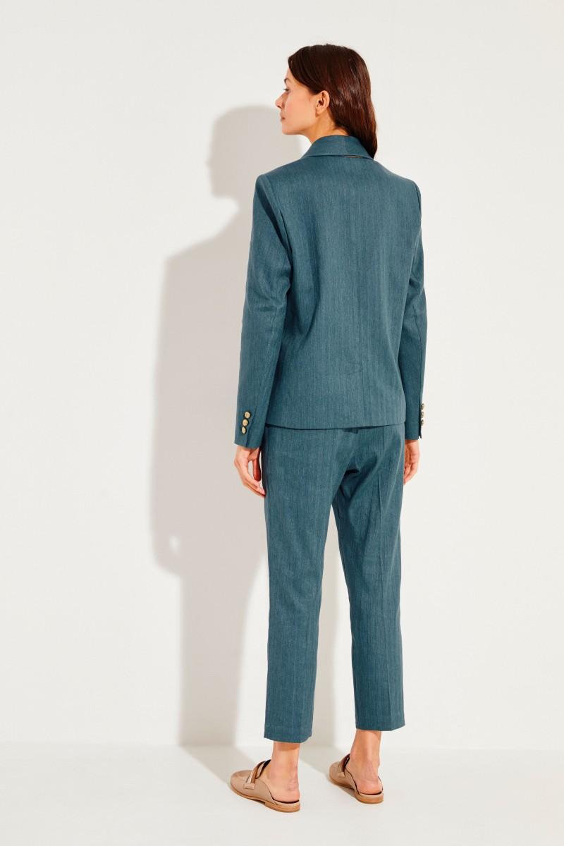 Baumwoll-Leinen-Blazer mit Logo-Knöpfen Grün