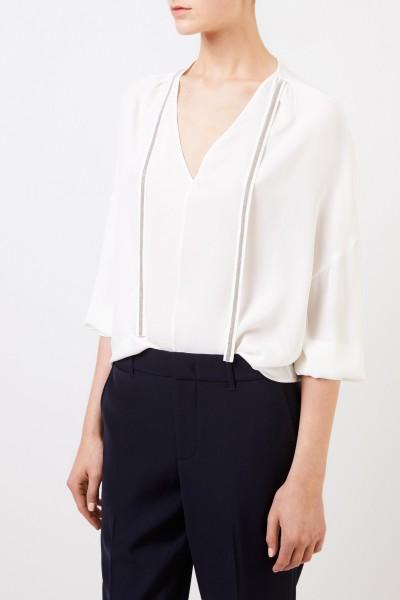 Fabiana Filippi Seiden-Bluse mit Perlenverzierung Crème
