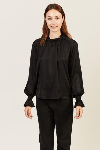 Seiden-Bluse 'Silky' mit Stehkragen Schwarz
