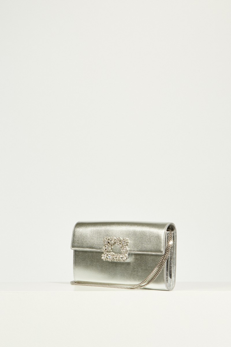 Satin-Clutch Silber