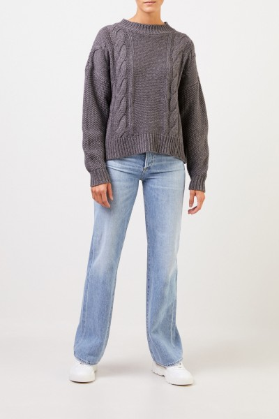 Uzwei Wool cashmere pullover with cable stitch Grey