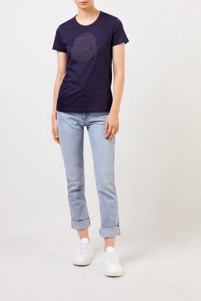 Moncler Cotton shirt with logo Navy Blue