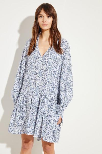 Seiden-Kleid mit floralem Print Blau/Multi