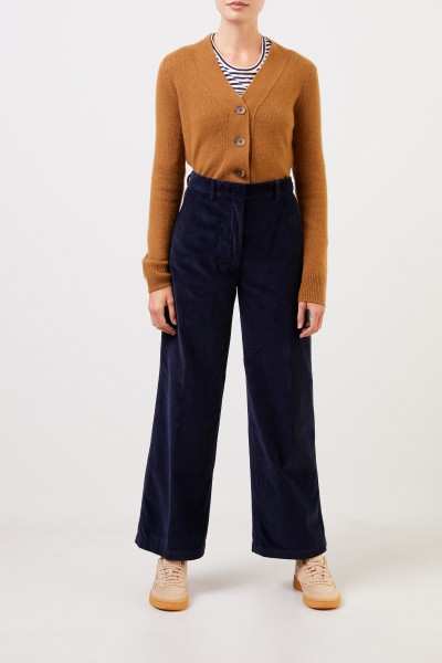 Aspesi Corduroy trousers with wide leg Navy Blue