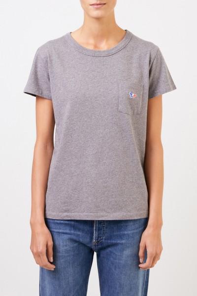 Maison Kitsuné T-Shirt 'Tricolor Fox Patch' mit Brusttasche Grau