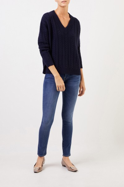 V-neck cashmere pullover with cable stitch Navy