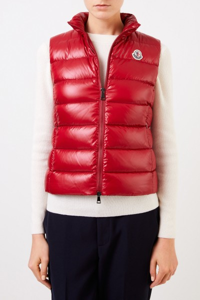Moncler Down vest 'Ghany' with logo patch Red