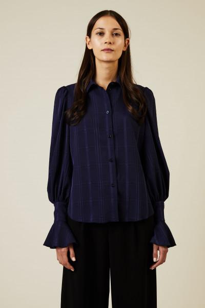 Bluse mit Glockenärmel und Volant-Details Marineblau