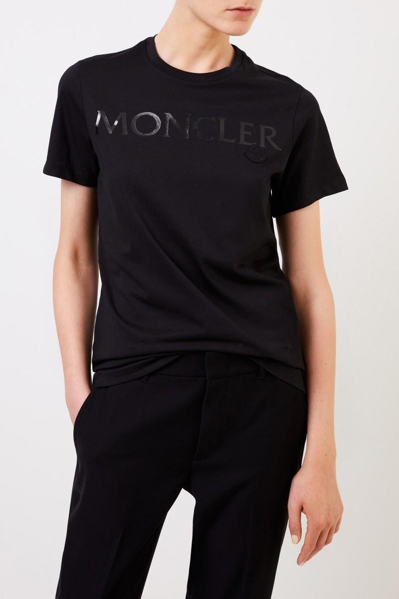 Moncler T-Shirt mit frontalem Logo-Detail Schwarz