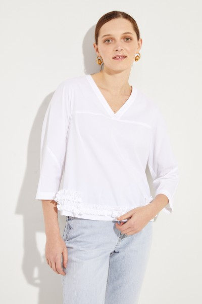 Cotton blouse with frill details White