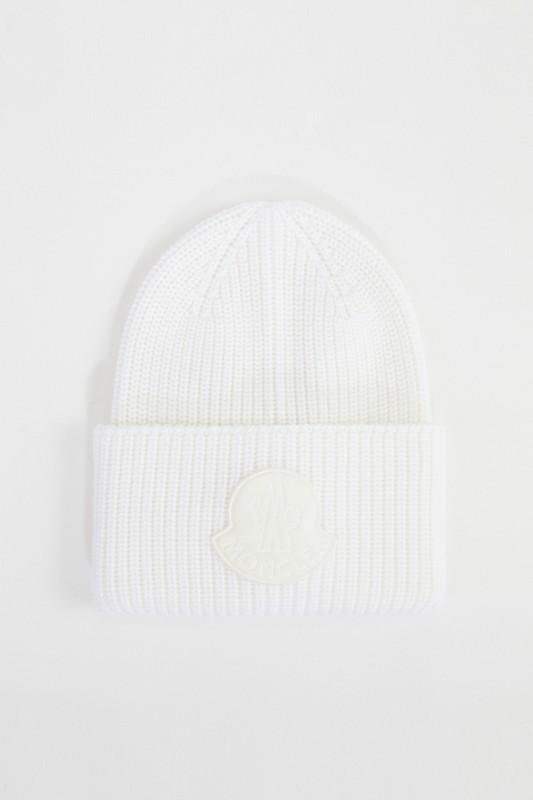Moncler Woll-Mütze mit Samt-Logo Weiß