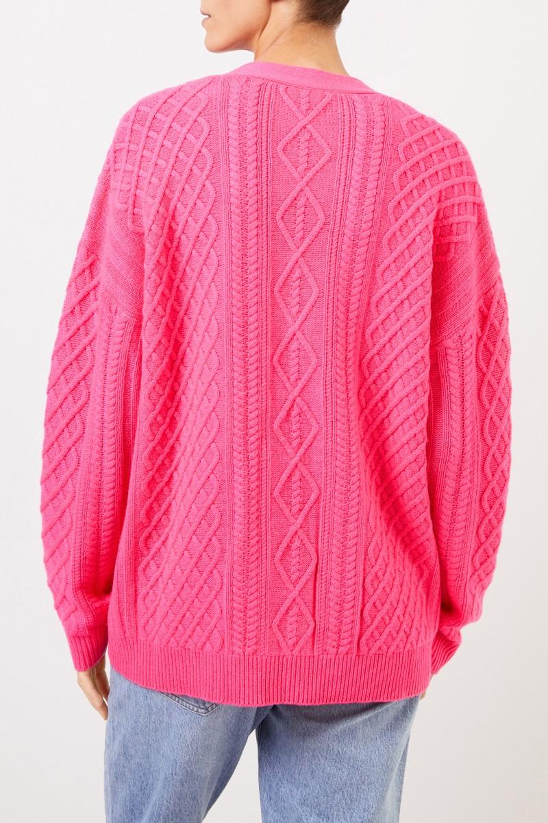 Uzwei Cashmere-Cardigan mit Zopfmuster Pink