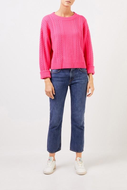 UZWEI Cashmere-Pullover mit Zopfmuster Pink