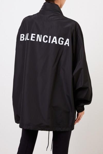 Balenciaga Oversize Jacke mit Logo-Schriftzug Schwarz