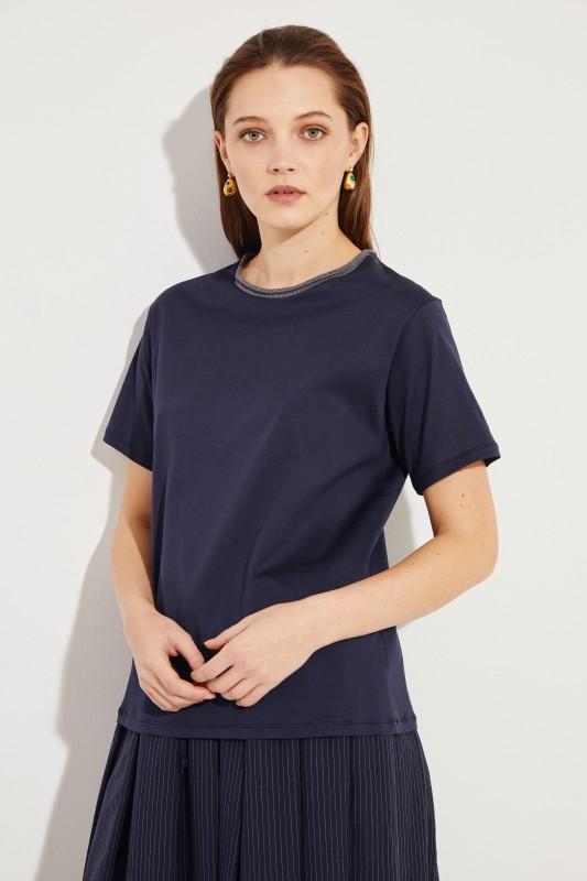 T-Shirt mit Strick-Detail Marineblau