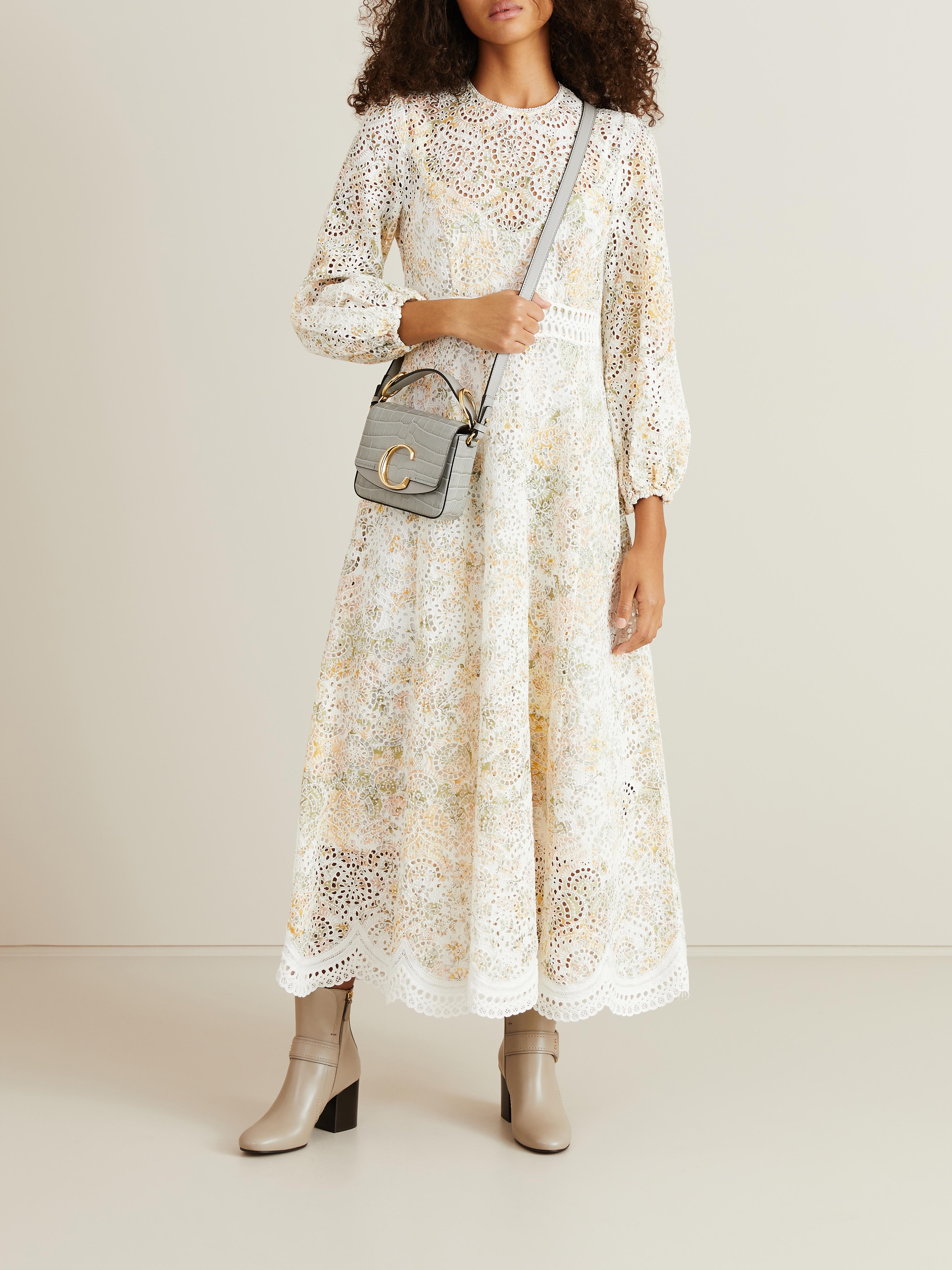 kleid 'amelie long dress' mit lochspitze weiß/multi
