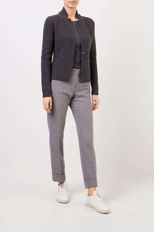 Fabiana Filippi Woll-Seiden-Blazer mit Perlenverzierung Grau