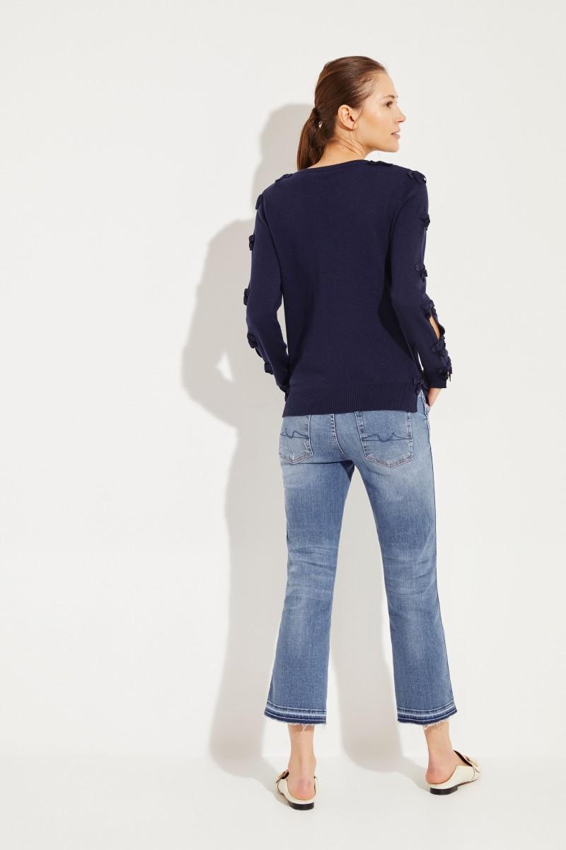 Pullover mit Schleifen-Details Marineblau