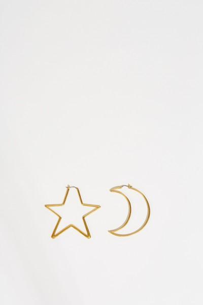 Mond-und Stern-Ohrringe Gold