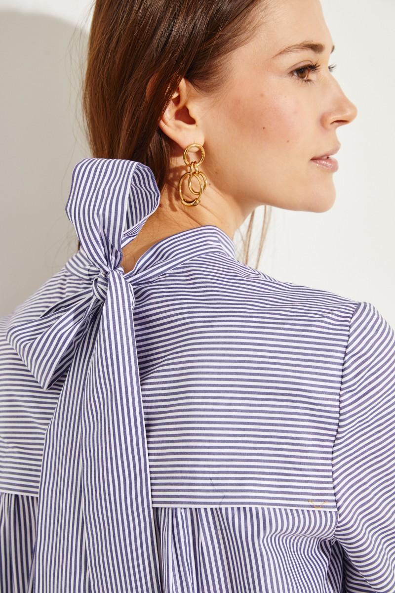 Bluse mit Schleifen-Detail Blau/Weiß