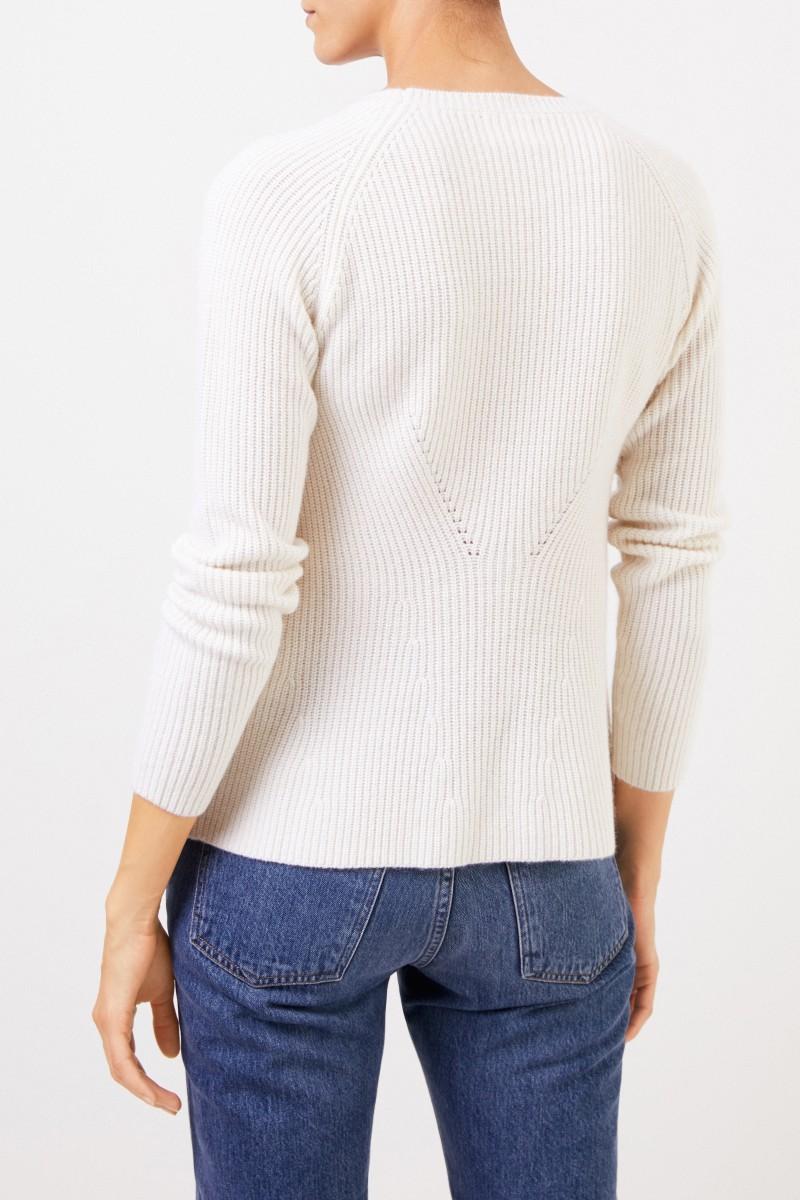 Uzwei Cashmere-Pullover mit Strickdetail Weiß