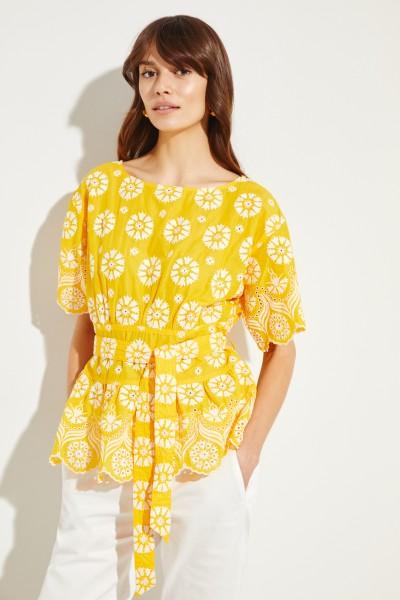 Baumwoll-Top mit Stickerei Gelb/Weiß