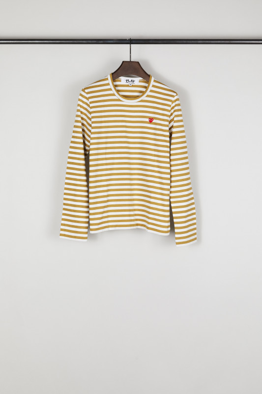 Comme des Garcons Play Gestreiftes Longsleeve Oliv/Weiß