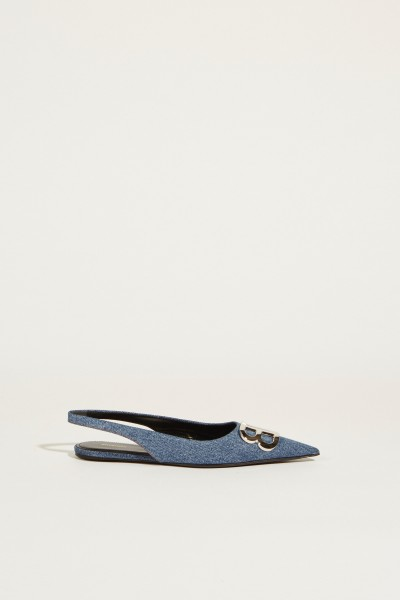 Pointed leather flat with logo Blue