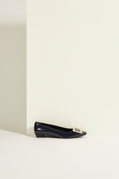 Patent leather flat 'Belle Vivier' with Buckle Blue