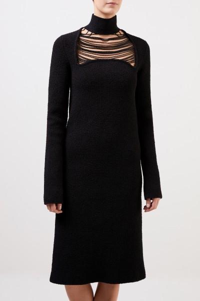 Bottega Veneta Seidenkleid mit Kettendetails Schwarz