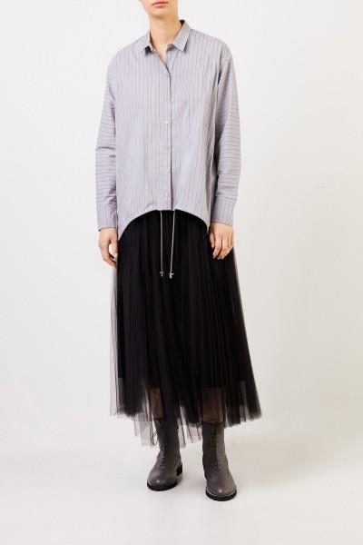 Fabiana Filippi Baumwoll-Bluse mit Perlenverzierung Grau/Multi