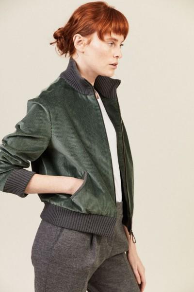 Cord-Jacke mit Strickdetails Grün