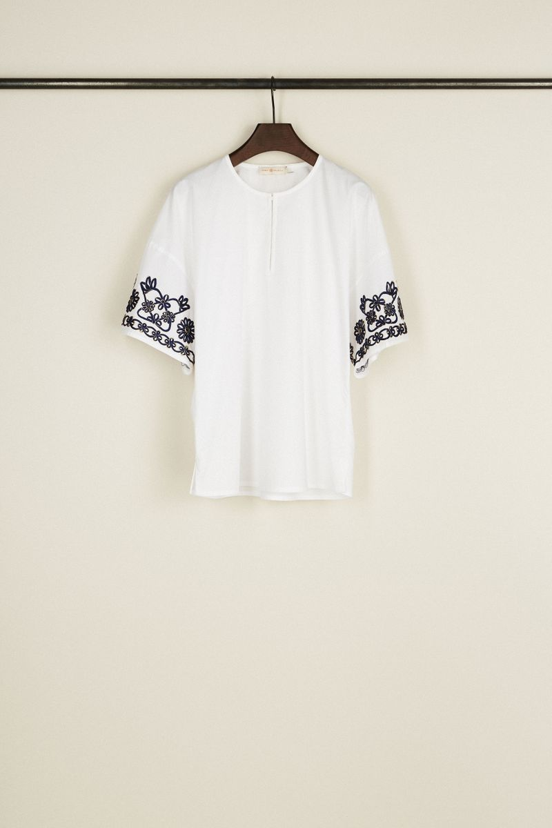 Baumwoll-Bluse mit floraler Stickerei Weiß/Blau