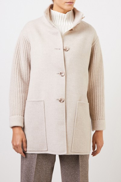 Manzoni 24 Wool cashmere coat with knit details Beige