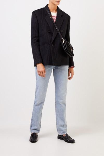 Saint Laurent Veloursleder-Tasche 'Minibag SL' mit Logo Schwarz