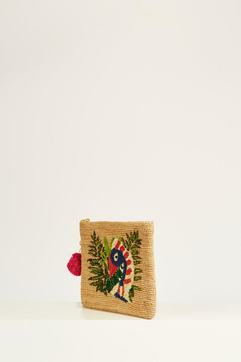Clutch 'Tilly the Toucan' mit frontalem Motiv Beige/Multi