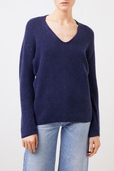 Iris von Arnim Cashmere sweater with v-neck Navy Blue