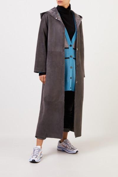 Furry Reversible lambskin coat with hood Stone Grey