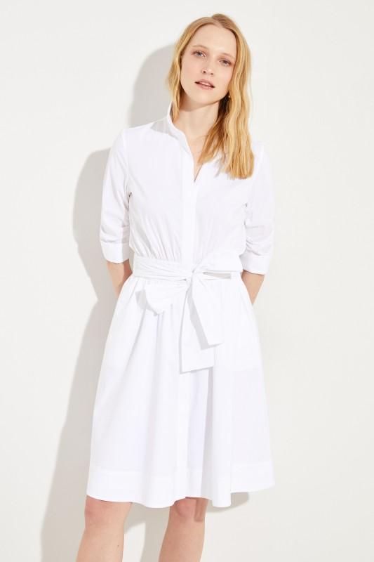 Kurzes Blusenkleid mit Bindedetail Weiß