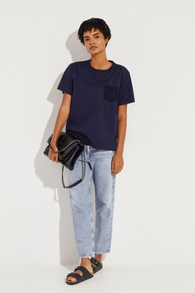 T-Shirt mit Spitzendetail Marineblau