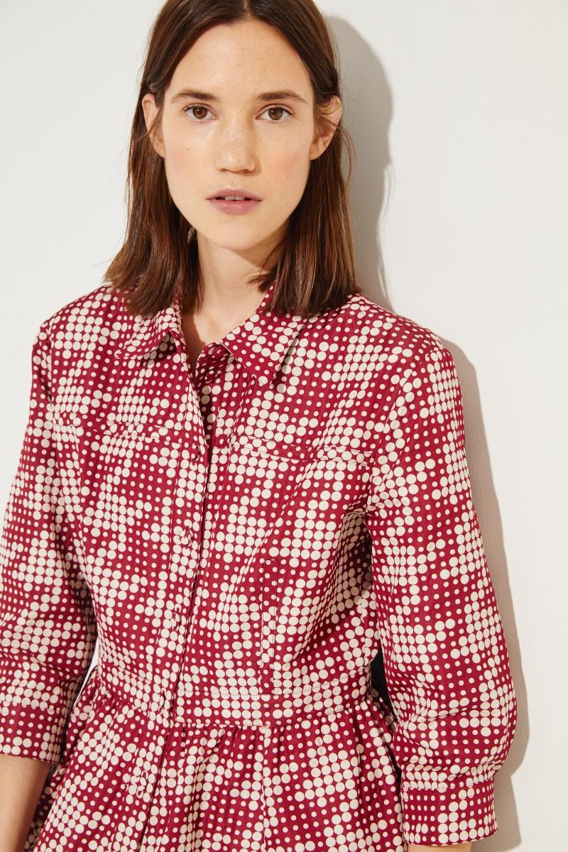 Blusenkleid mit Punktemuster Bordeaux/Beige