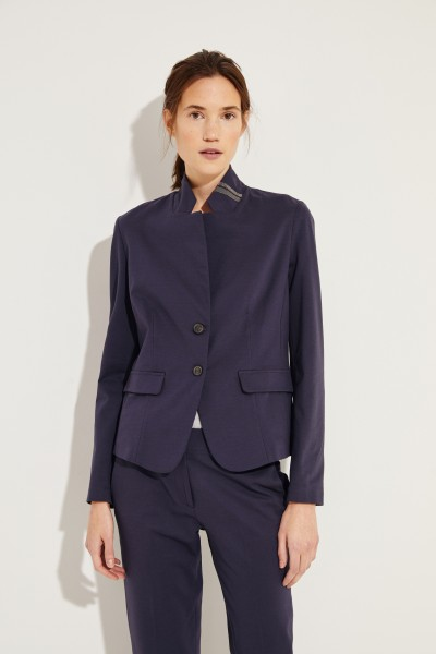 Blazer mit Perlenapplikation am Kragen Blau