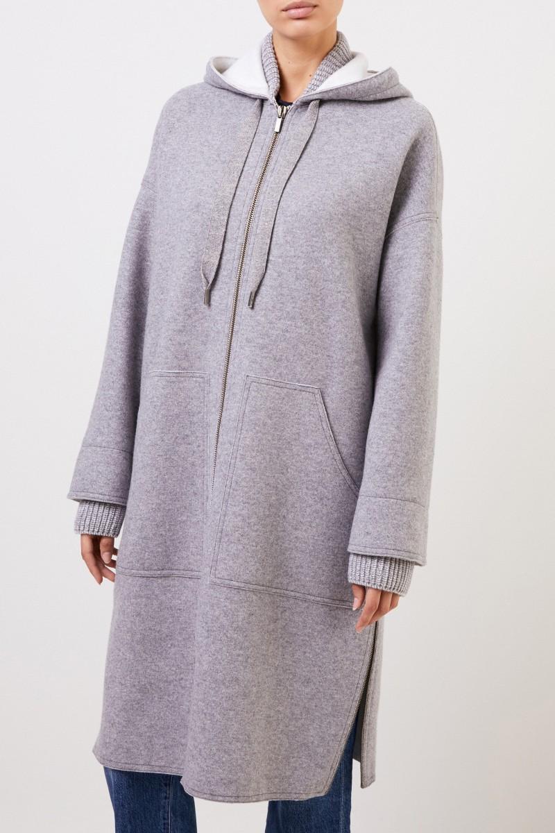 Lorena Antoniazzi Woll-Mantel mit Kapuze Grau