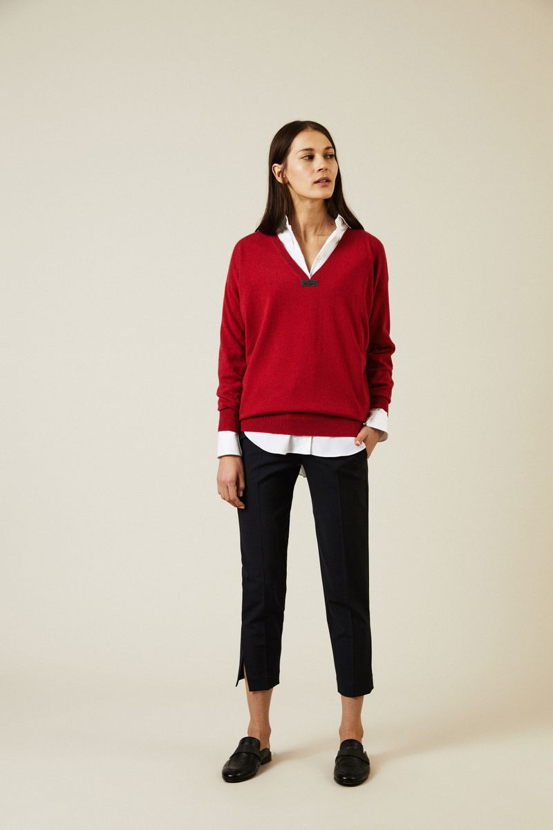 Cashmere Pullover mit Perlendetails Rot