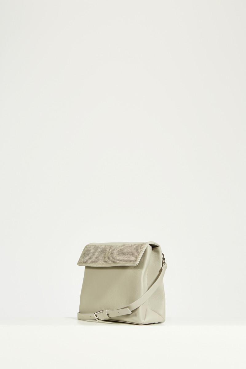 Shoulder bag with pearl decoration Grey